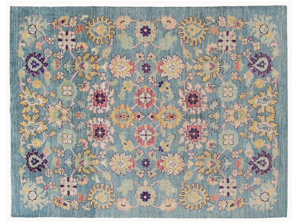 Modern Oushak Colorful Wool Rug 9 X 12