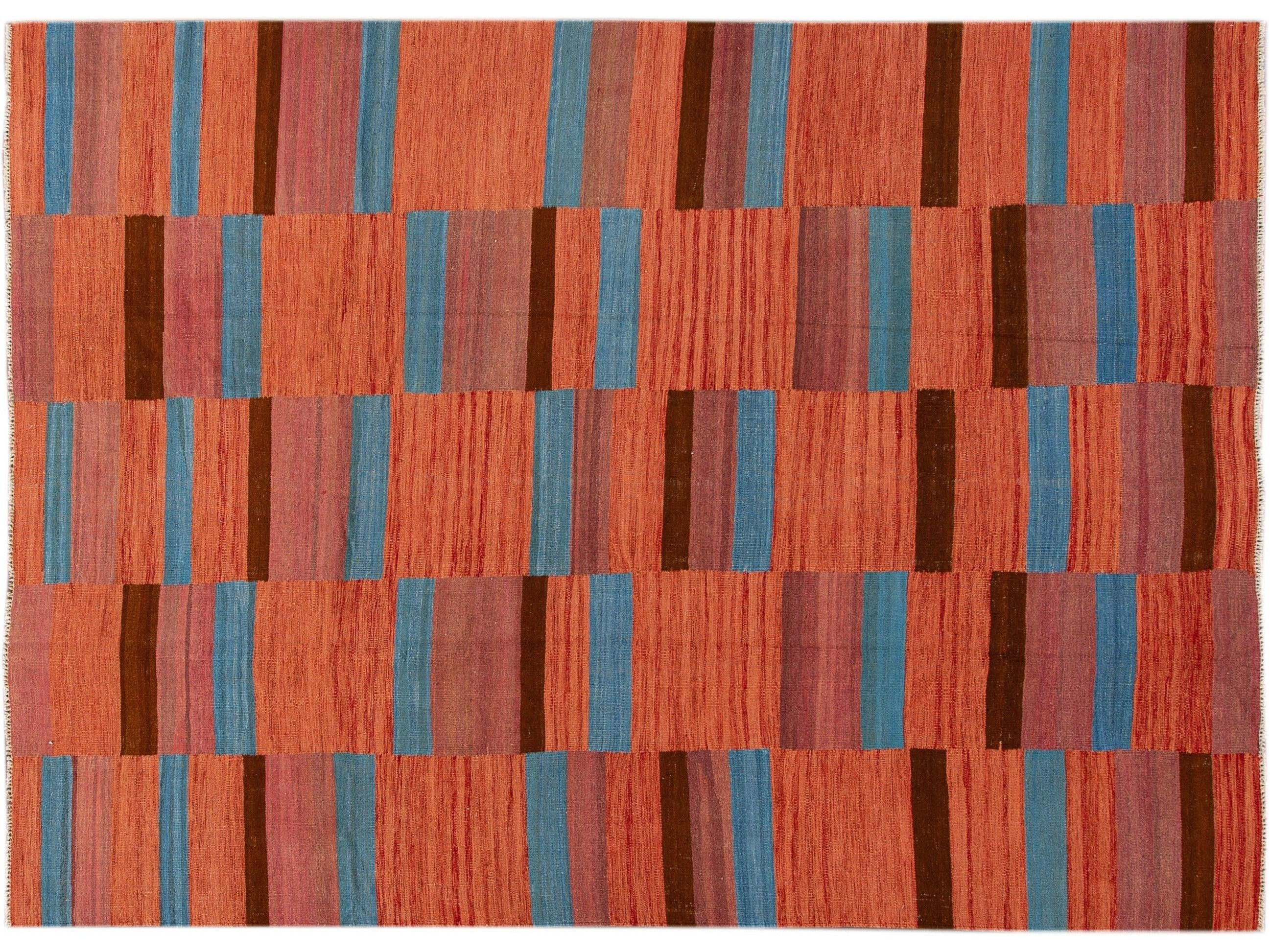 Modern Kilim Flatweave Orange Geometric Abstract Wool Rug