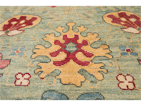 New Contemporary Oushak Colorful Wool Rug 12 X 16