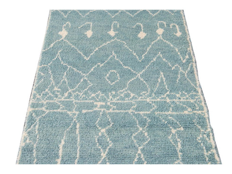 Modern Moroccan Style Wool Runner 3 X 13