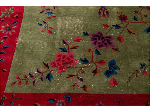 Early 20th Century Antique Art Deco Chinese Wool Rug 9 X 11