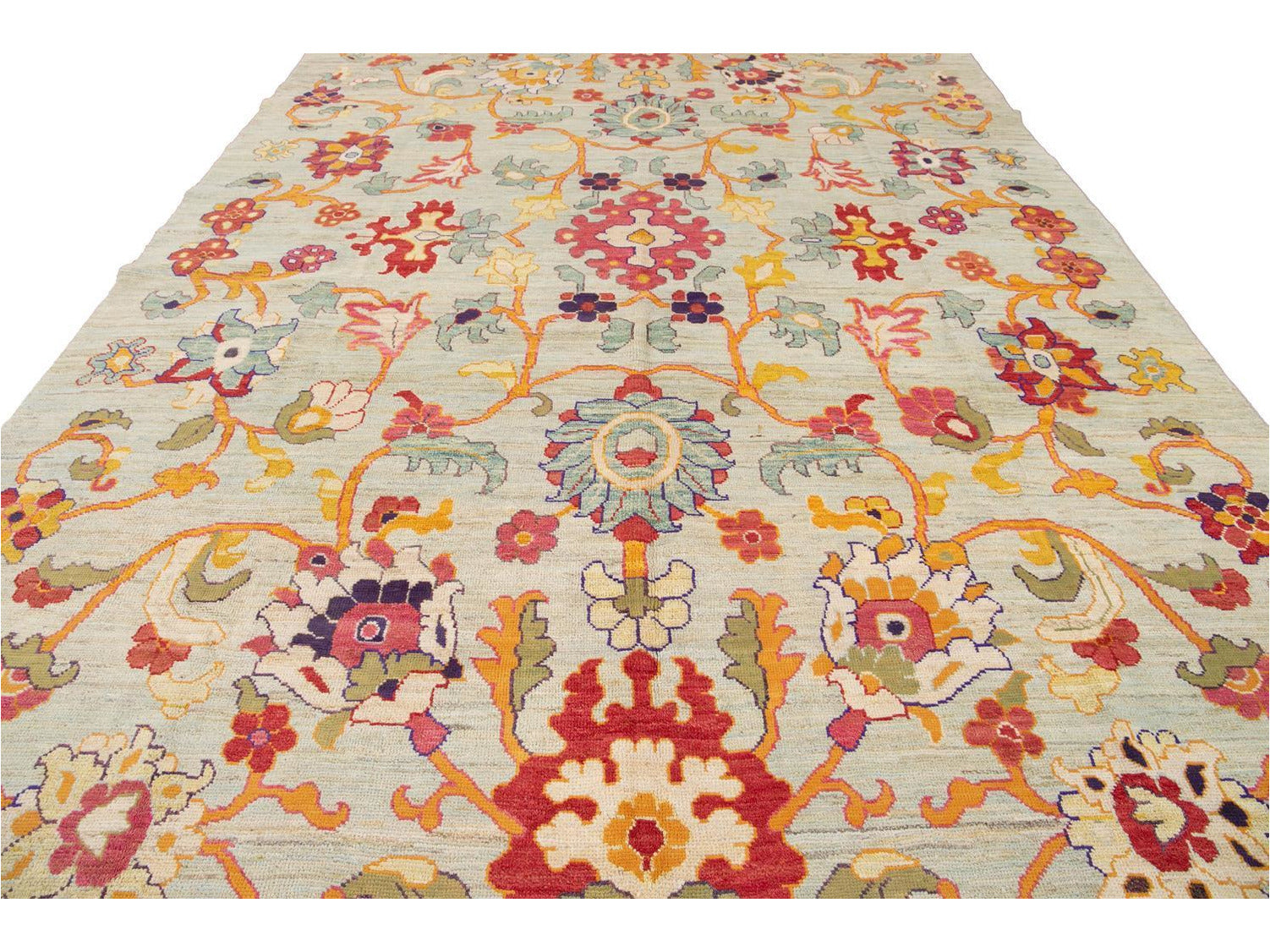 Modern Oushak Colorful Wool Rug 10 X 14