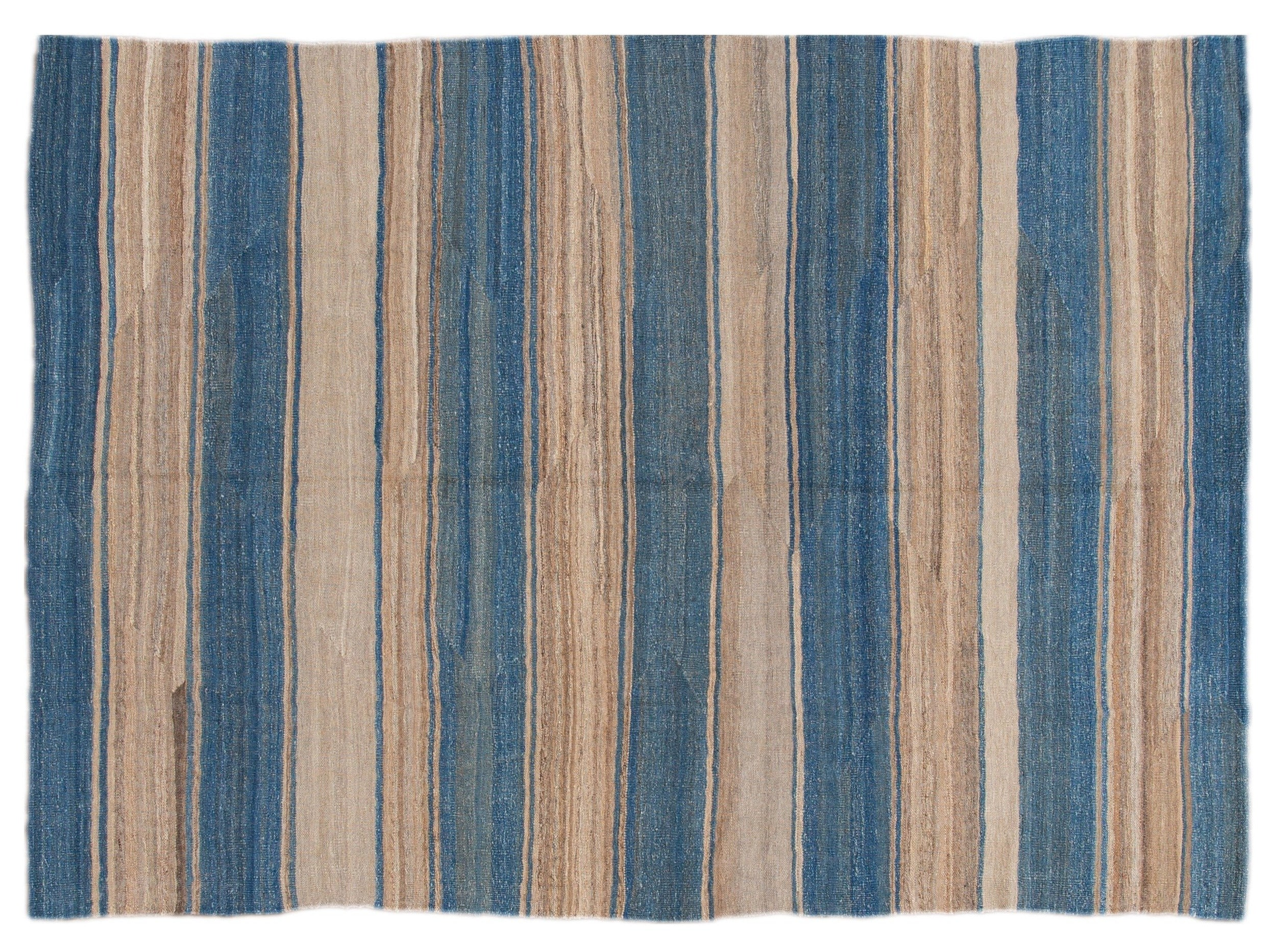 Modern Striped Flat-Weave Wool Rug 7 X 10