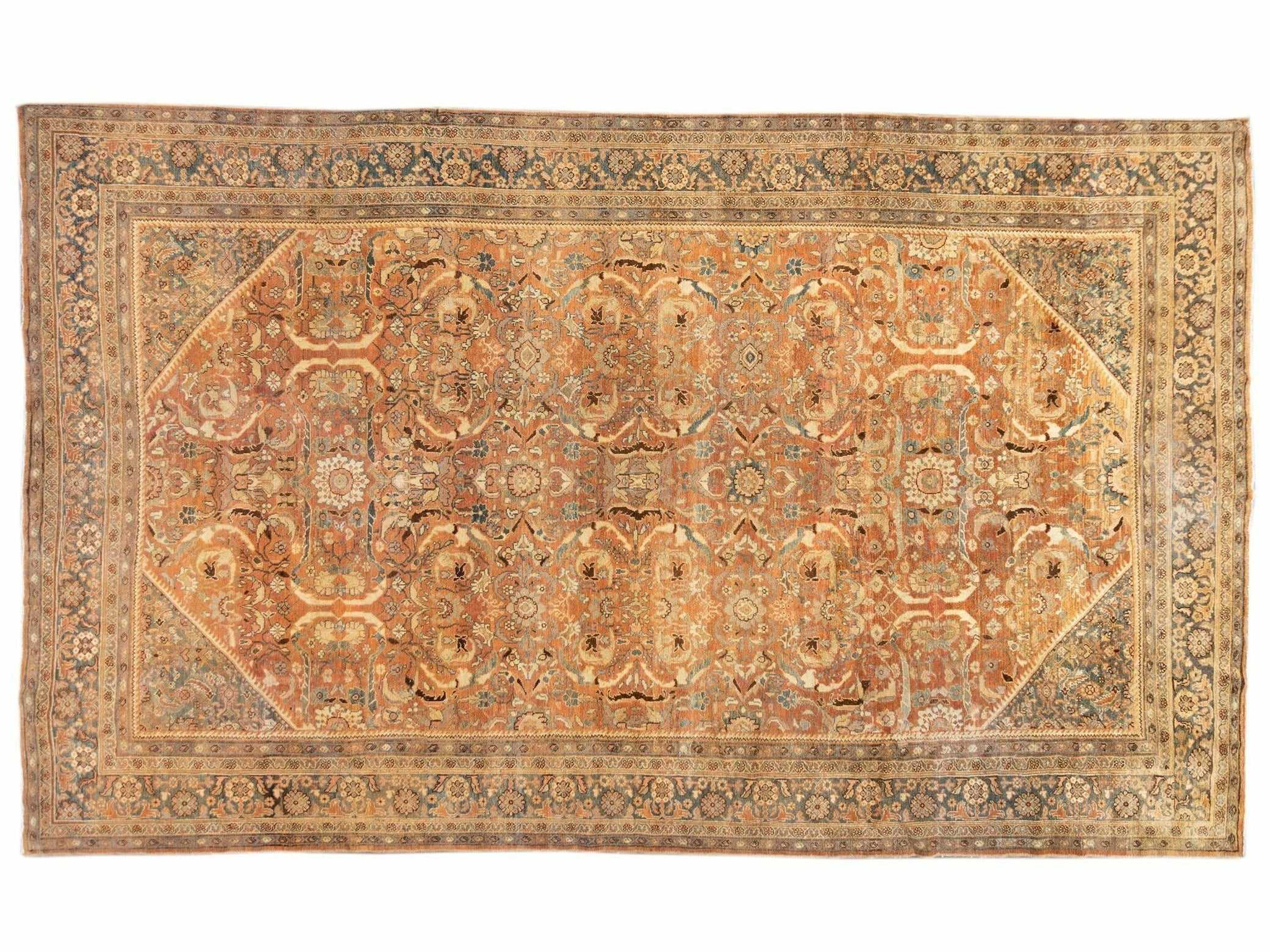 19th Century Antique Mahal Rug 11 X 19