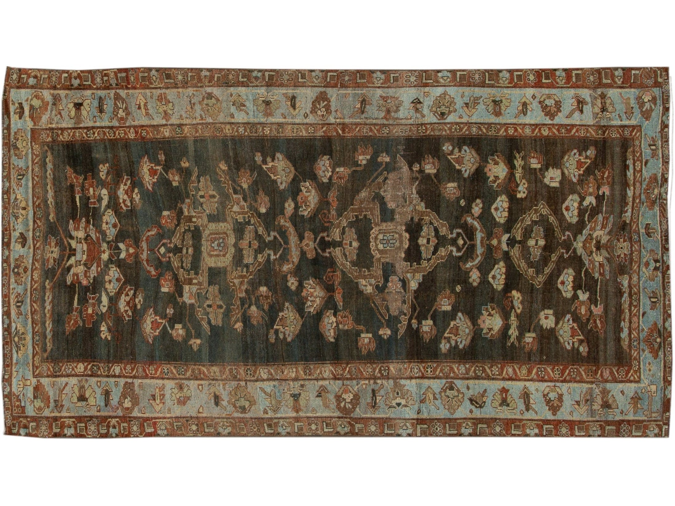 Antique Bidjar Wool Runner 5 X 10