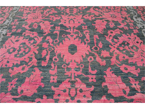 Modern Oushak Colorful Wool Rug  13 X 20