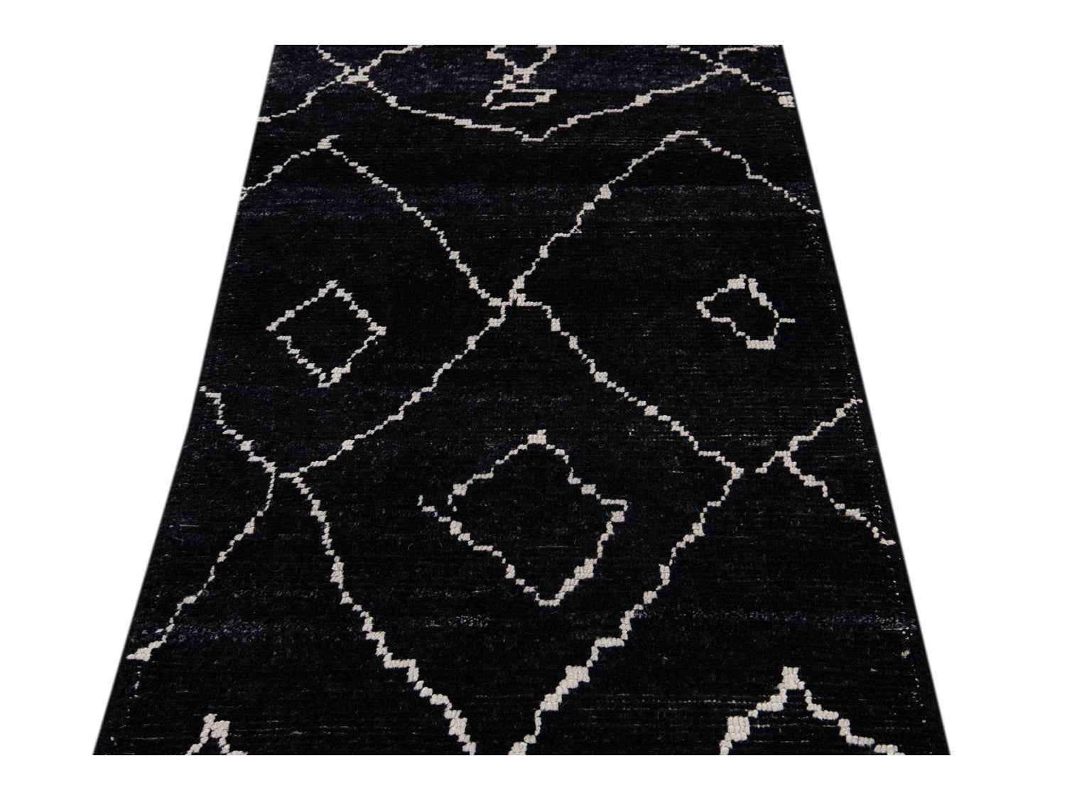 Modern Moroccan Style Wool Runner 2 X 12