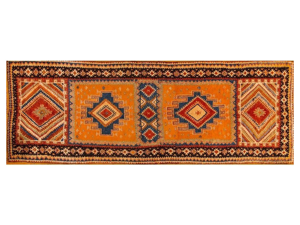Mid-20th Vintage Orange/Blue Moroccan Runner 4 X 12