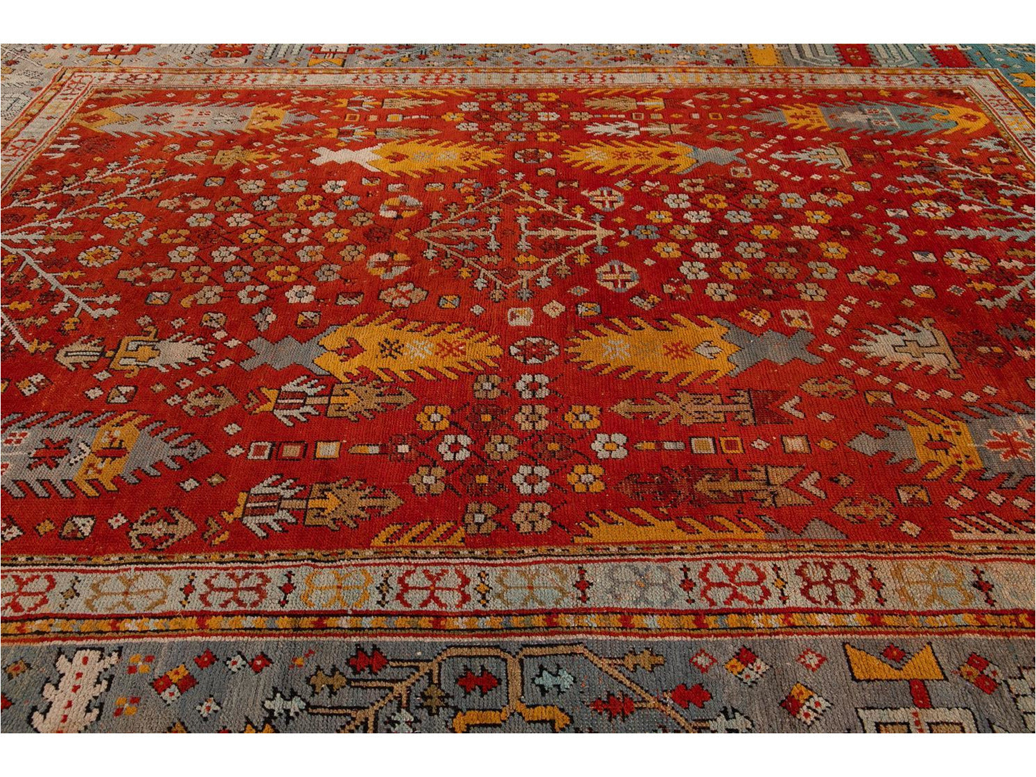 Late 19th Century Antique Oversize Oushak Wool Rug 12' x 15'