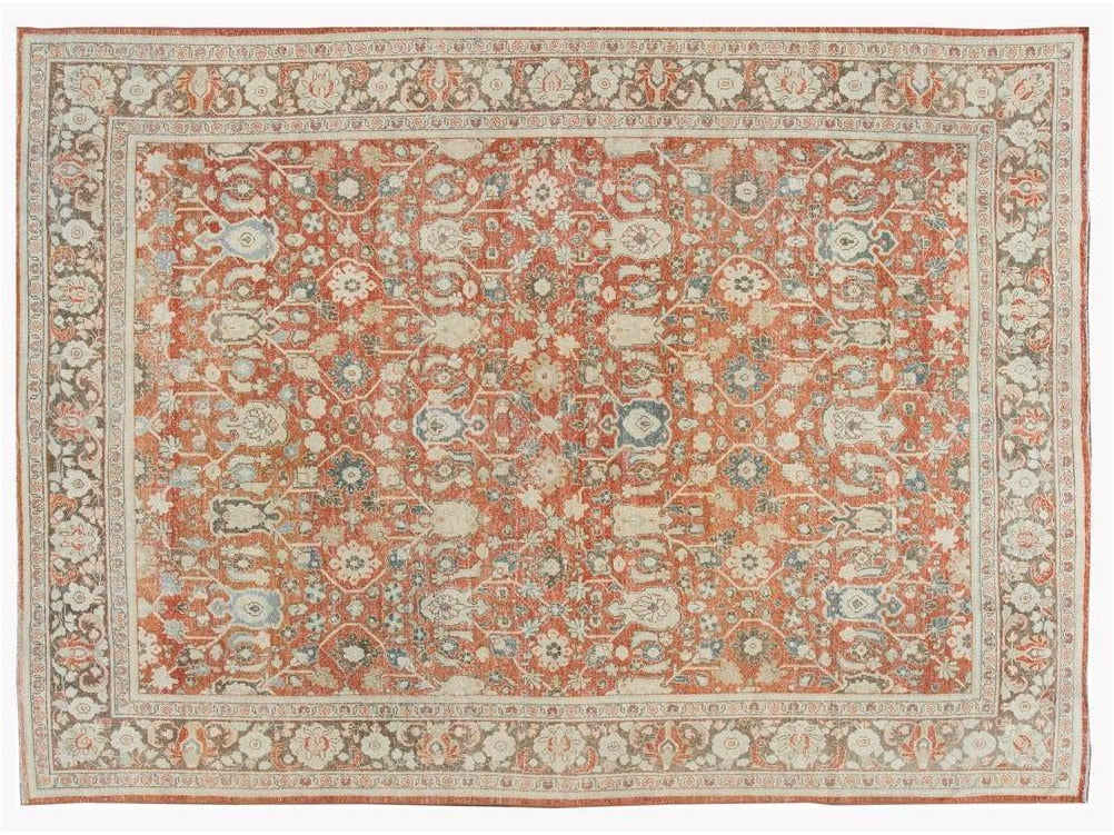 Early 20th Century Antique Mahal Wool Rug 9 X 13
