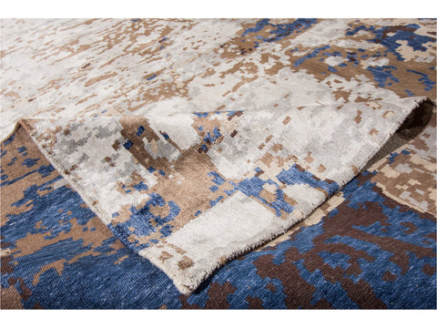 21st Century Modern Abstract Wool and Silk Indian Rug 12 X 15