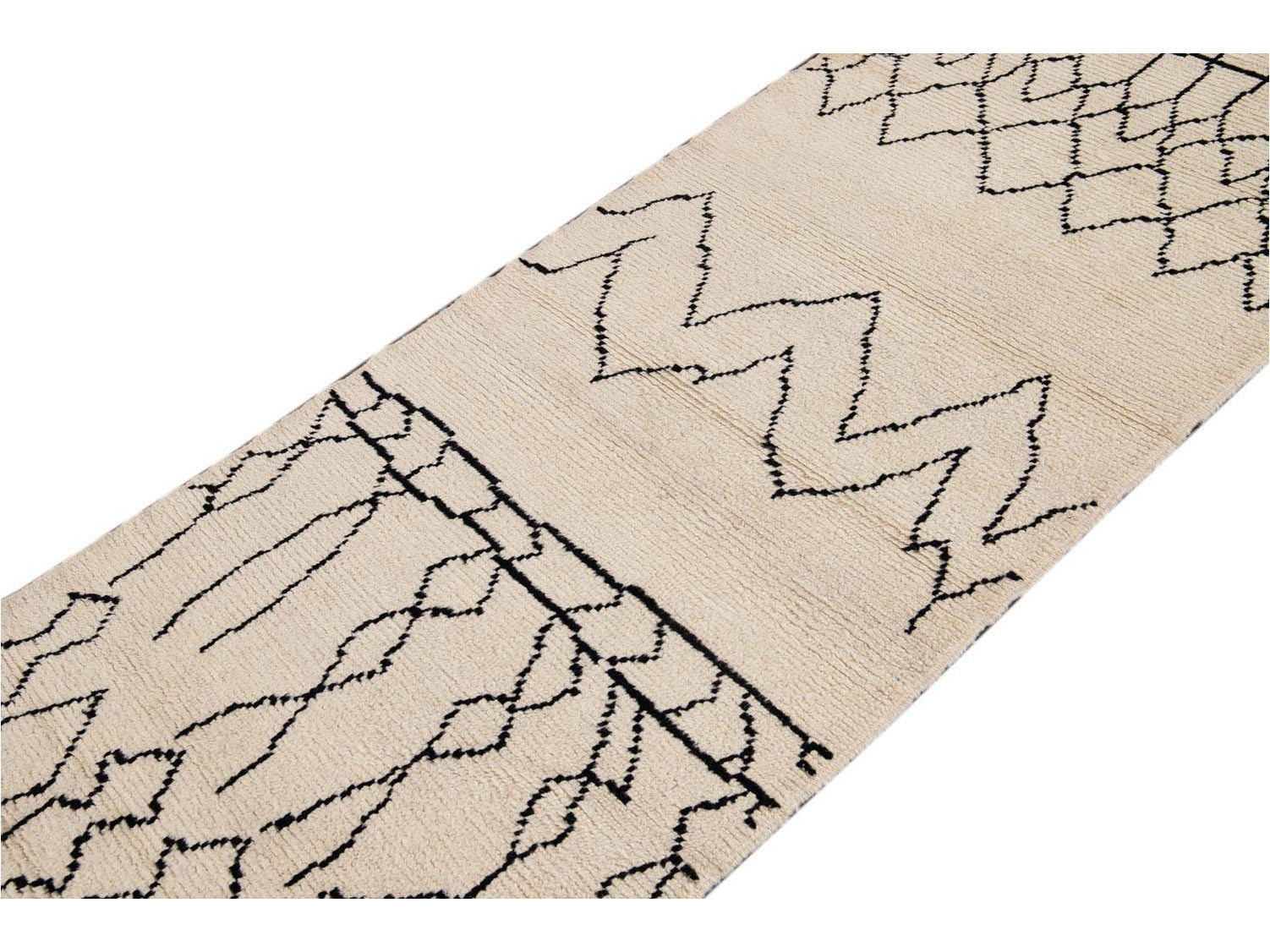 Modern Moroccan Style Wool Runner 3 X 12