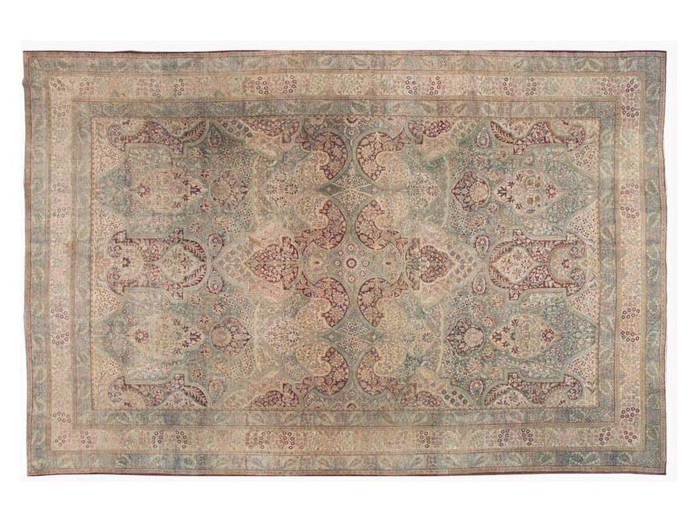 Antique Kirman Wool Rug 11 X 17