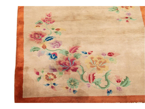 Antique Chinese Art Deco Wool Rug 4 X 7