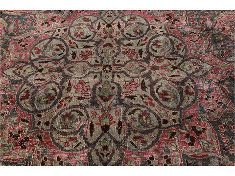 Early 20th Century Overdyed Wool Rug 12 X 17