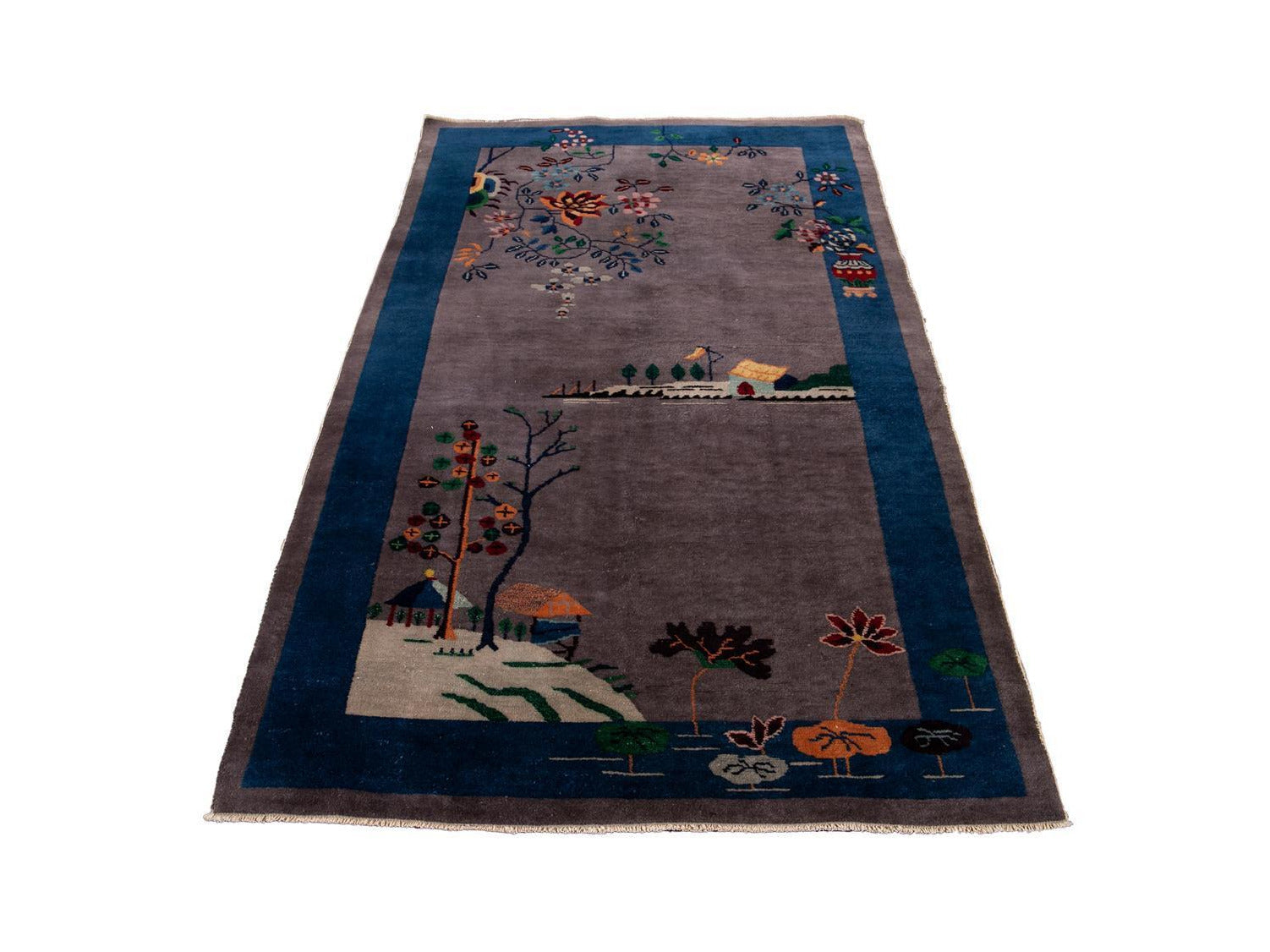 Antique Art Deco Chinese Peking Wool Rug 4 X 7