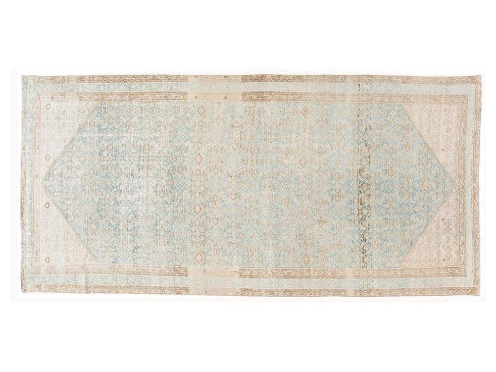 Vintage Persian Malayer Neutral Tones Wool Runner 7 X 16