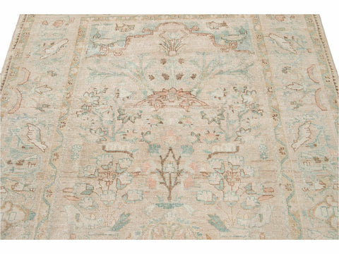 Vintage Mahal Muted Neutral Tones Wool Rug 6 X 10