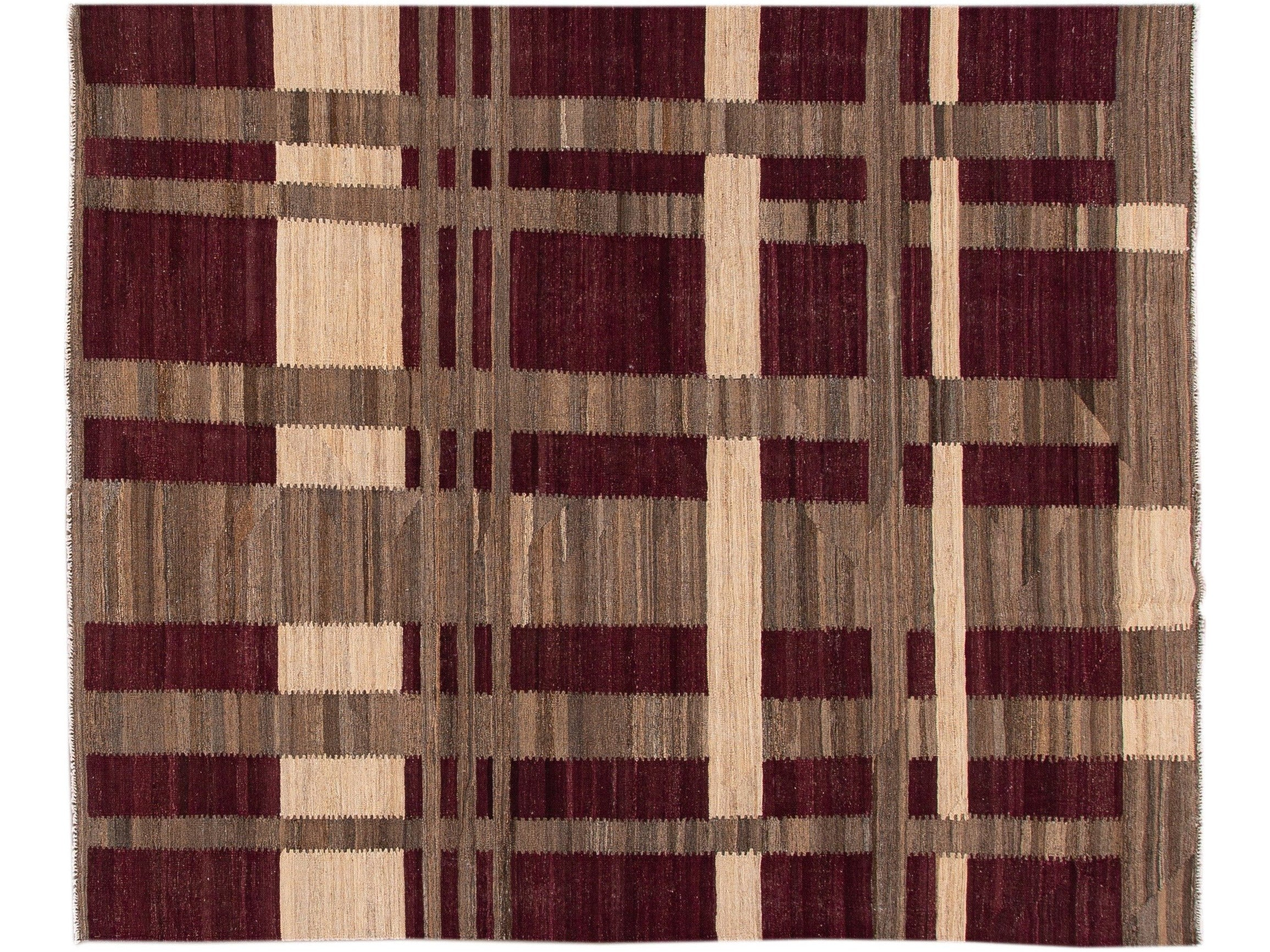 Modern Kilim Flatweave Burgundy and Brown Geometric Wool Rug