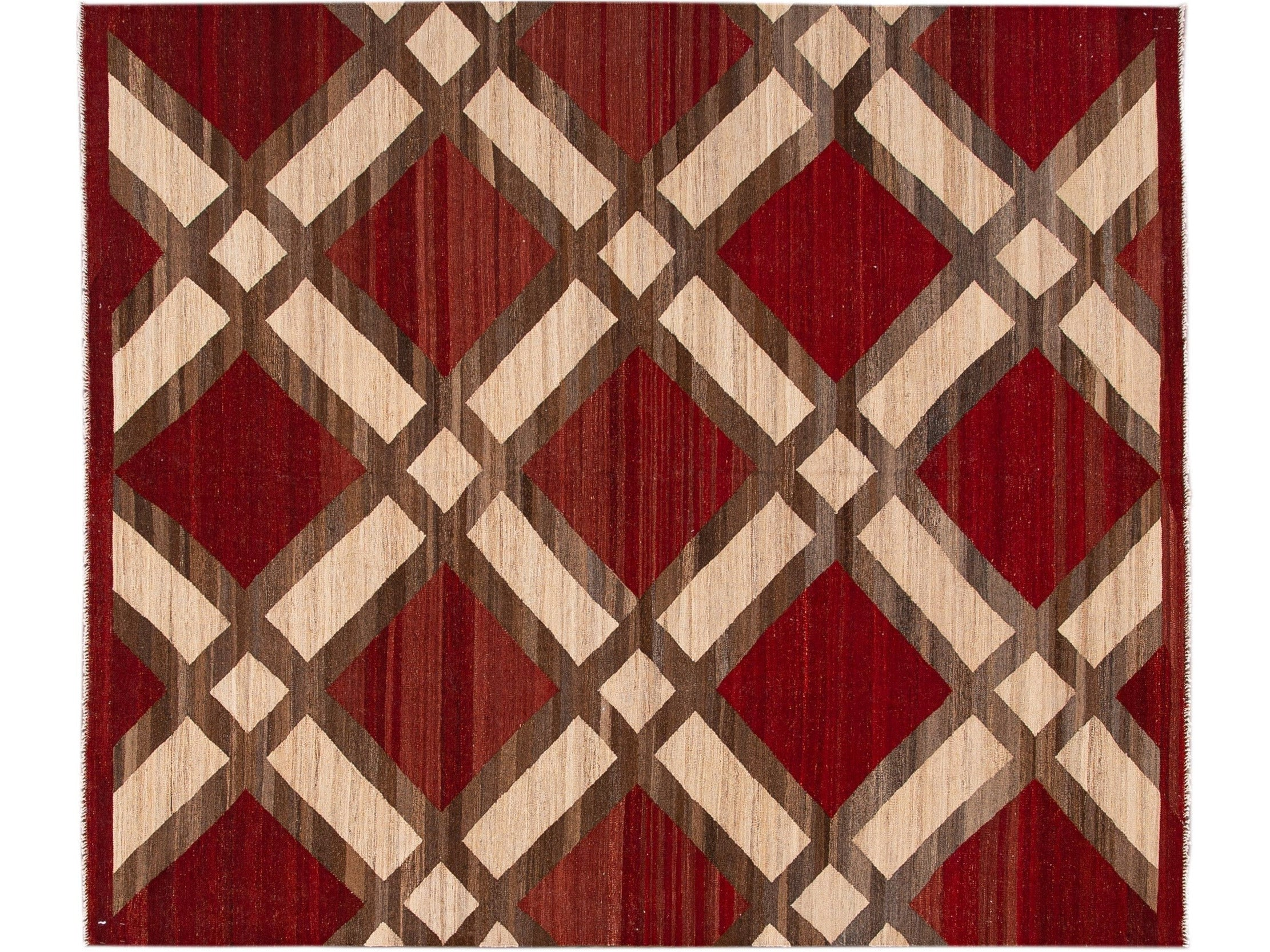 Modern Kilim Flatweave Red and Beige Geometric Wool Rug