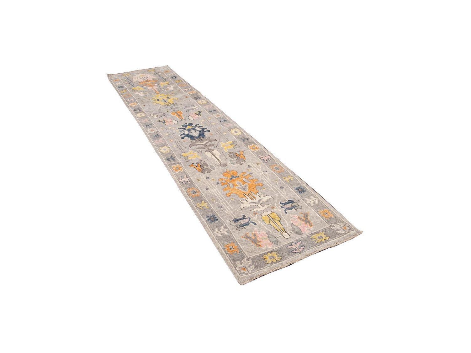 New Contemporary Oushak Style Wool Runner 3 X 12