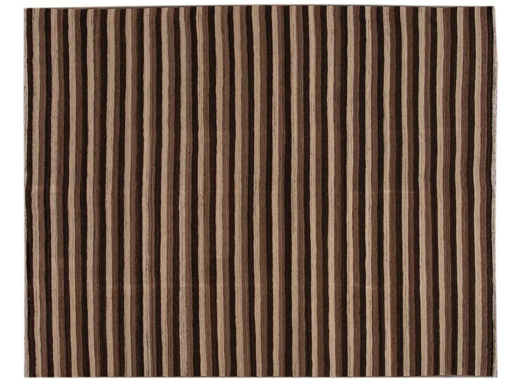 21st Century Contemporary Flatweave Wool Rug 9 X 12