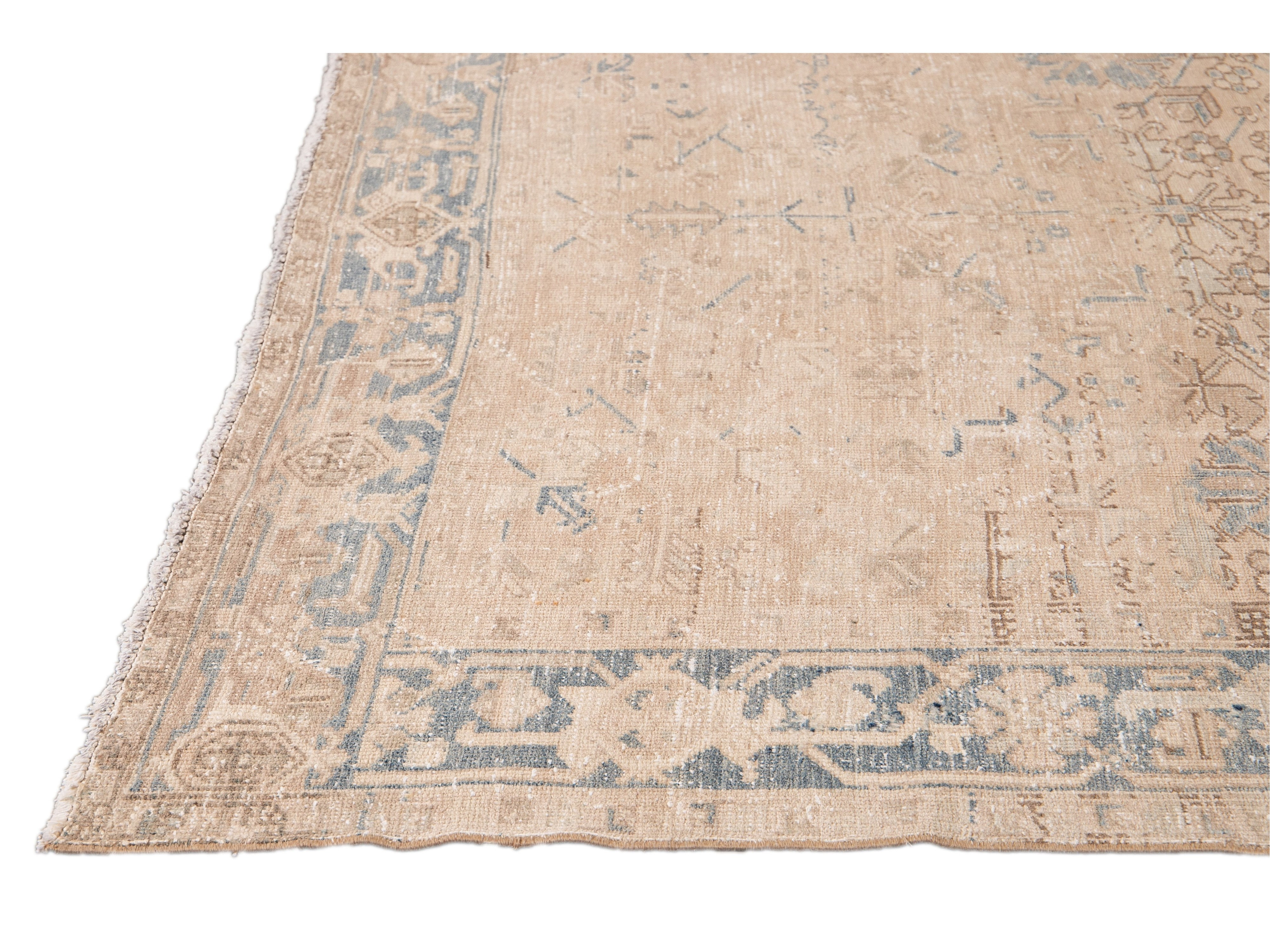 Antique Heriz Wool Rug 8 X 11