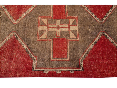 Vintage Turkish Geometric Wool Runner 3 X 13