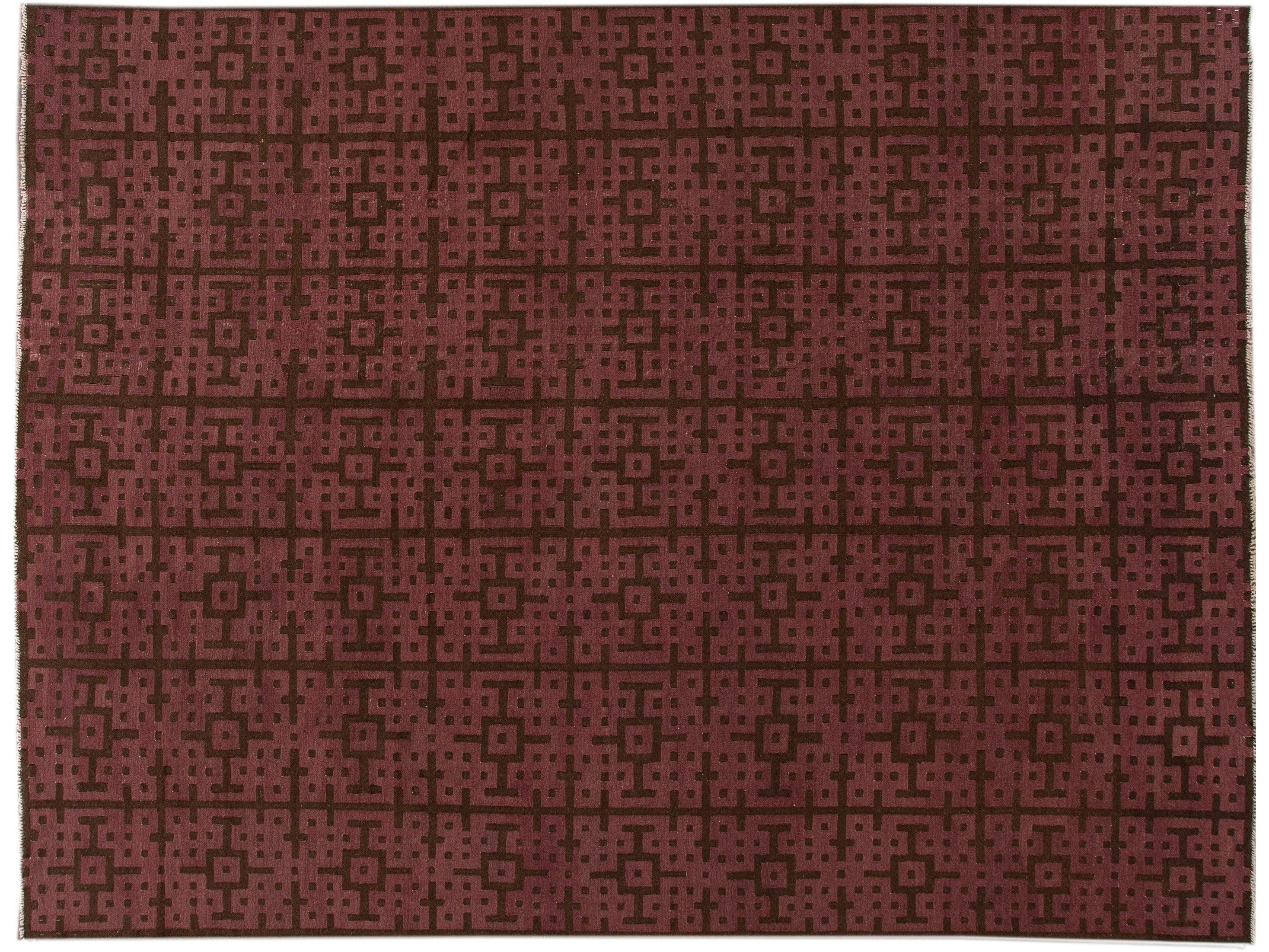 Modern Kilim Handmade Maroon and Brown Geometric Pattern Wool Rug