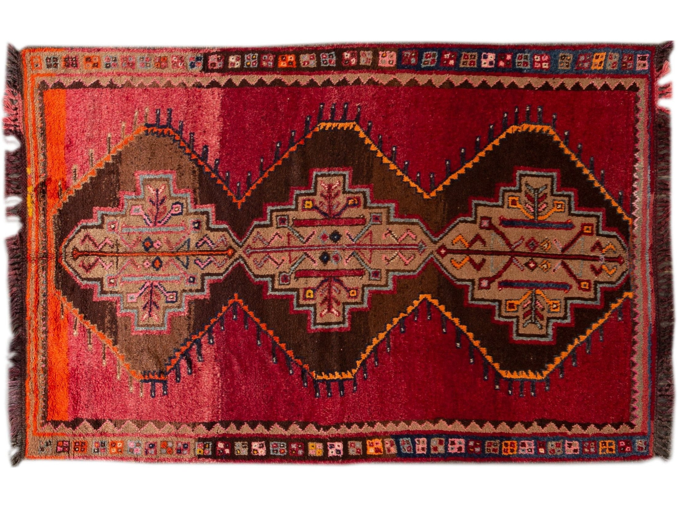Vintage Turkish Tribal Wool Rug 6 X 9