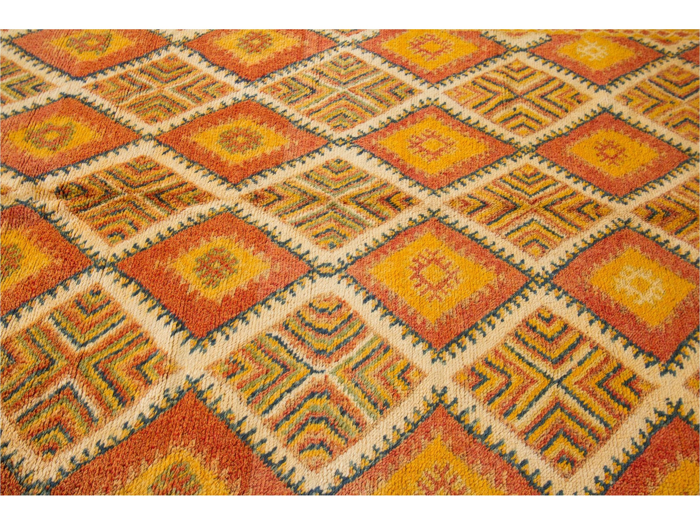 Mid-20th Century Vintage Orange Moroccan Tribal Wool Rug 5 X 12