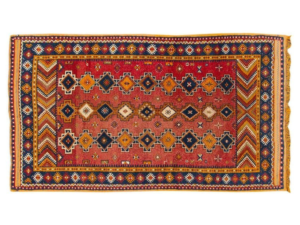 Antique Moroccan Tribal Wool Rug  5 X 8