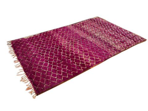 Vintage Purple Moroccan Tribal Wool Rug, 6 x 9