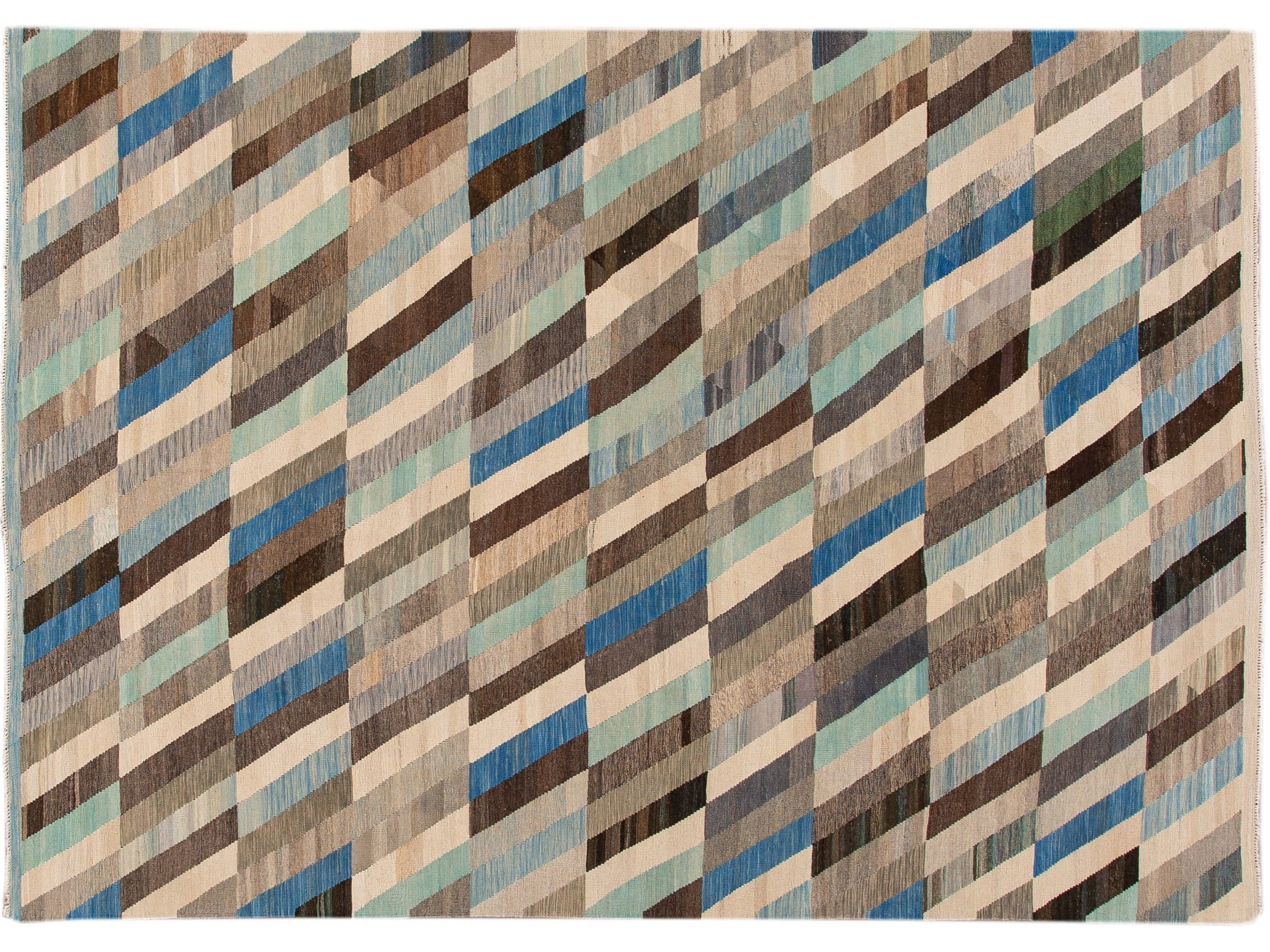 Contemporary Kilim Flatweave Multicolor Geometric Abstract Wool Rug