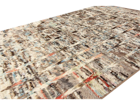 21st Century Modern Moroccan Style Oversize Wool Rug 11 X 16