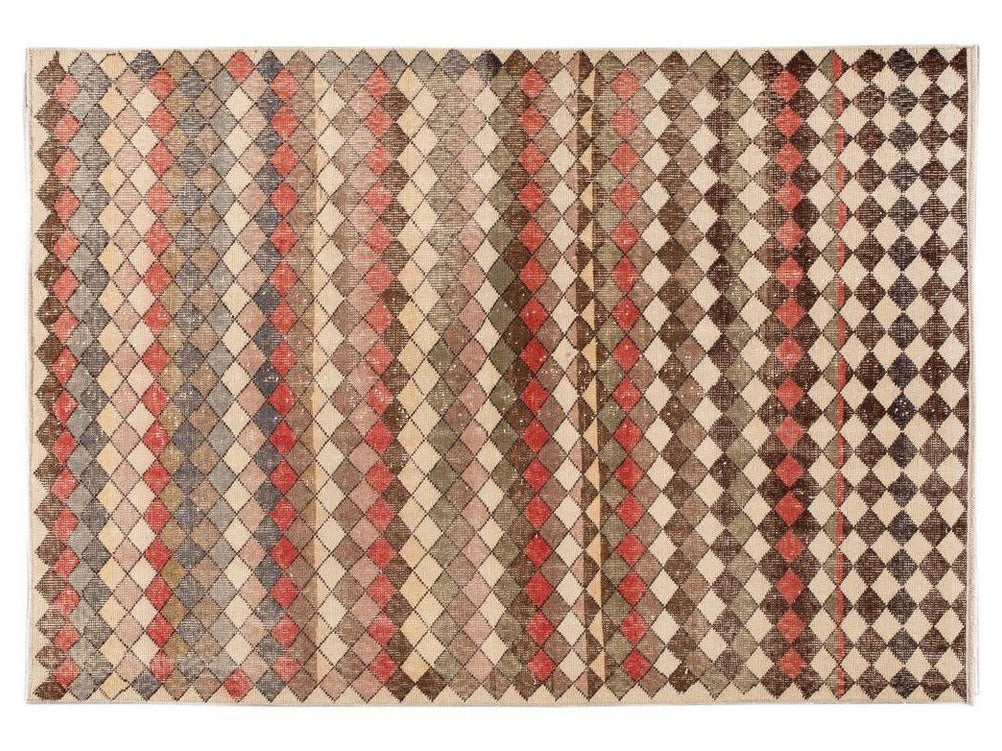 Vintage Turkish Scatter Wool Rug 5 X 7