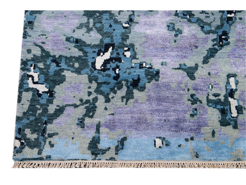 Modern Abstract Wool and Silk Rug 12 X 16
