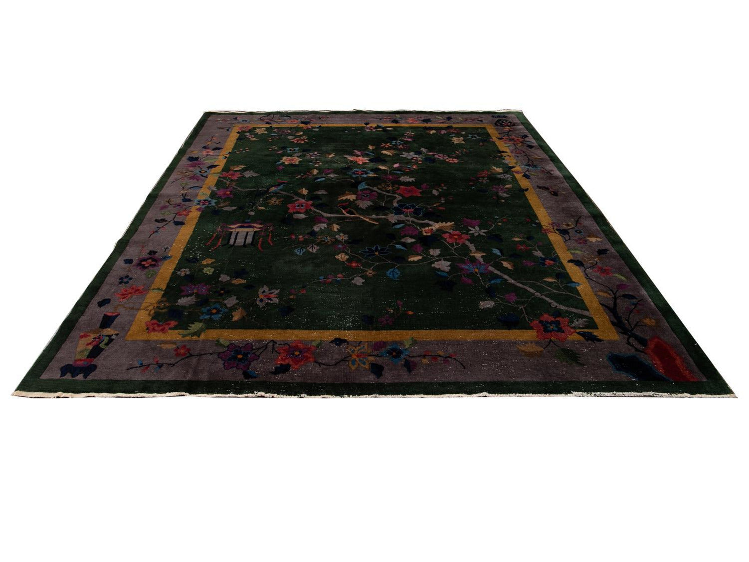 Antique Green Art Deco Chinese Wool Rug 8 X 10