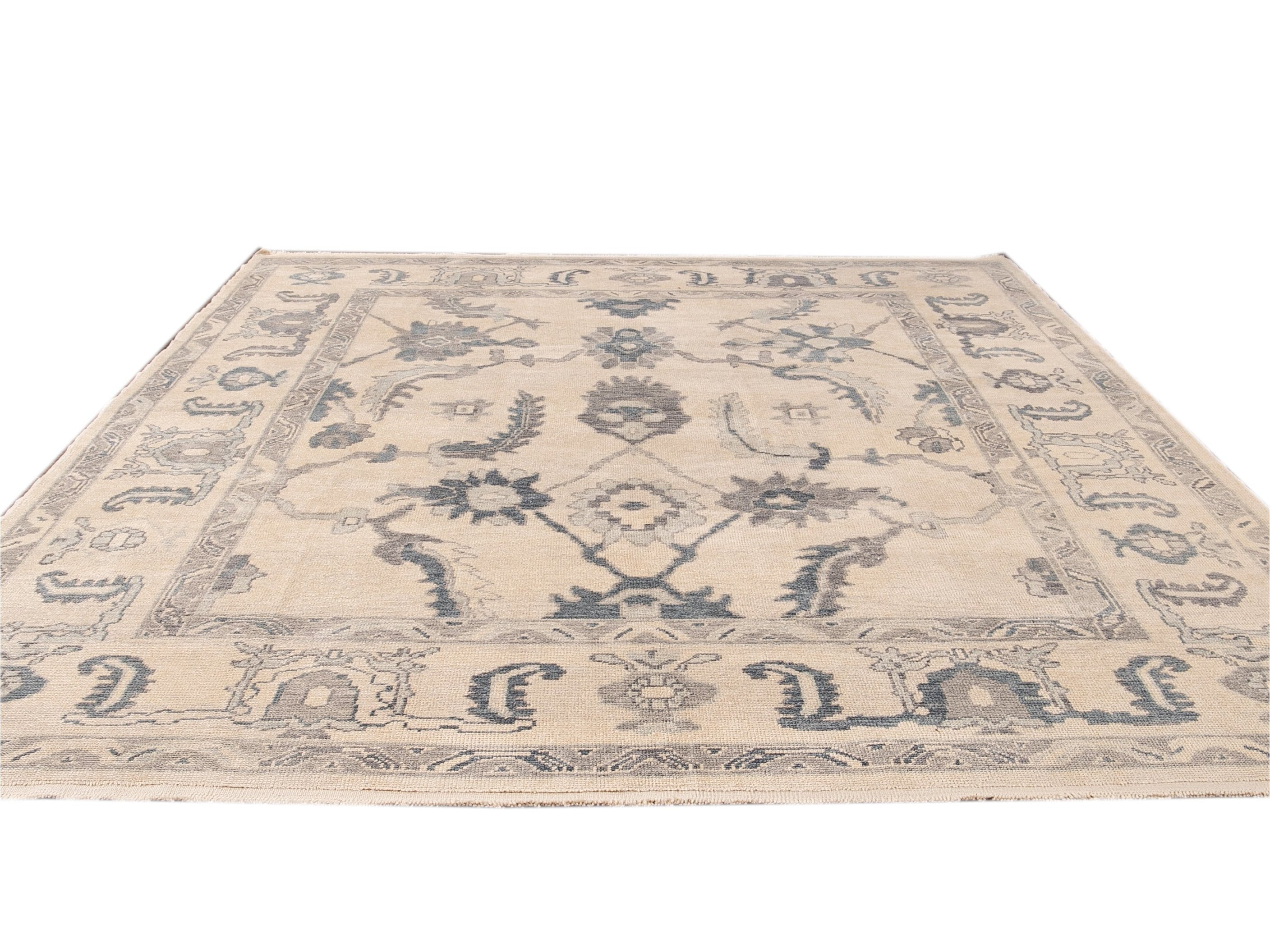 Modern Beige and Blue Turkish Oushak Geometric Floral Handmade Wool Rug