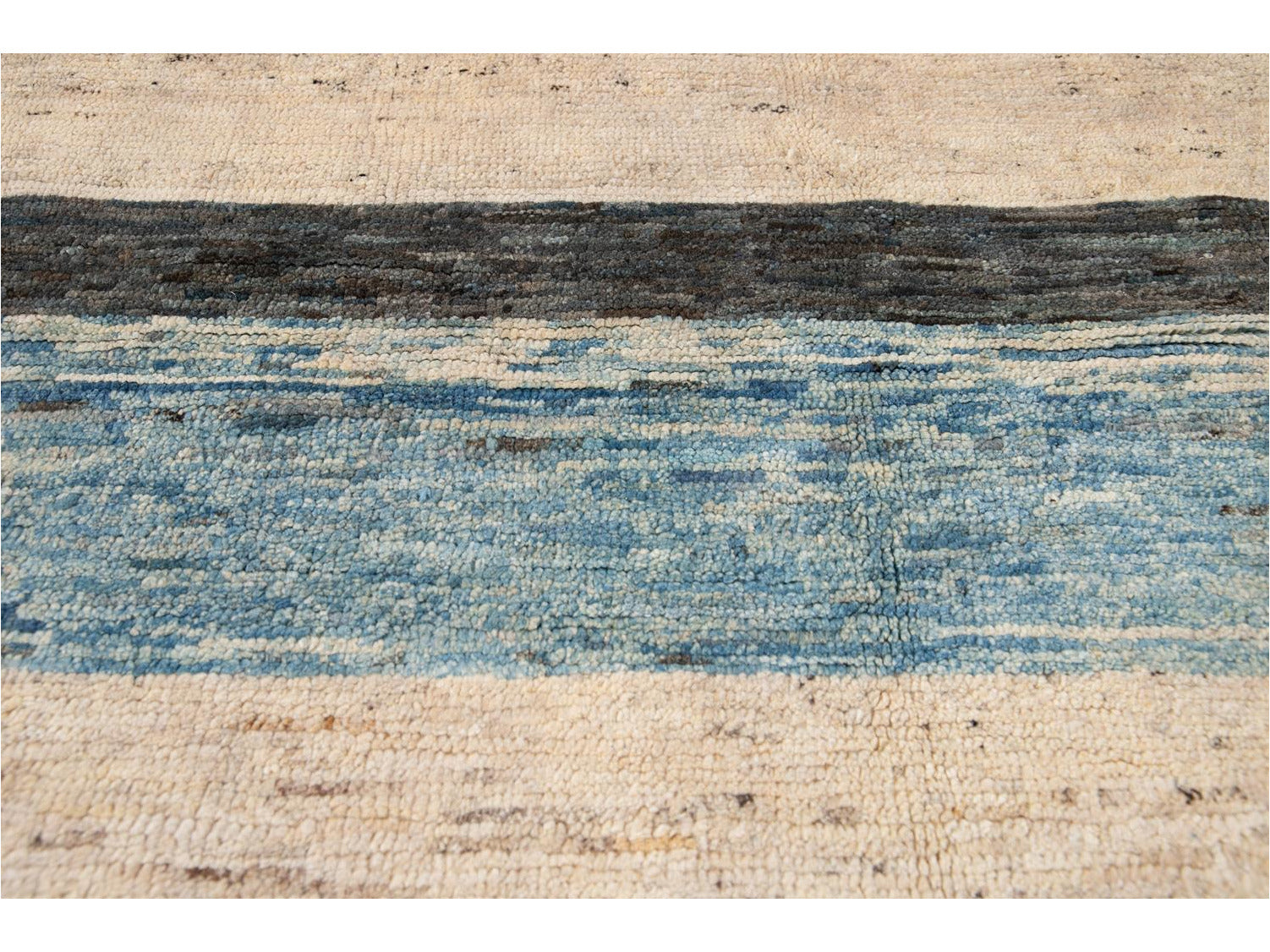 Modern Moroccan-Style Striped Wool Rug 8 X 10