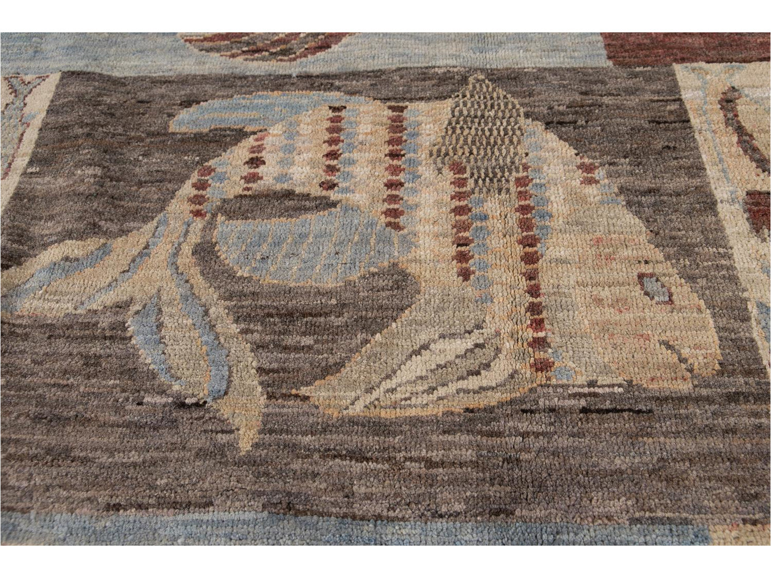 Modern Fish Design Wool Rug 9 X 12