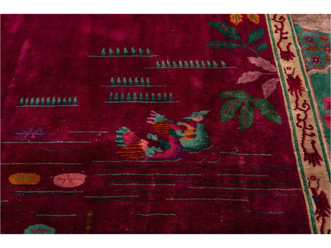 Early 20th Century Antique Art Deco Chinese  Rug 11 X 19
