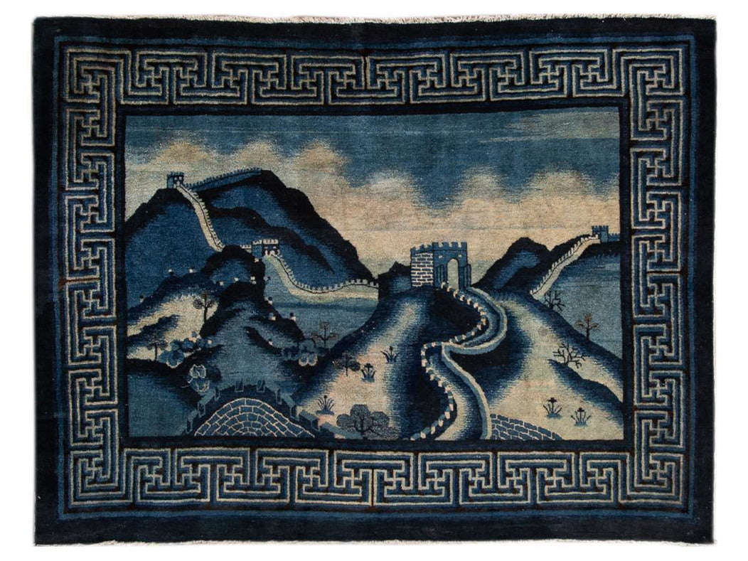 Antique Art Deco Chinese Square Wool Rug 6 X 7