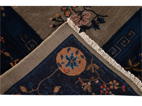 Antique Art Deco Chinese Wool Rug 9 X 12