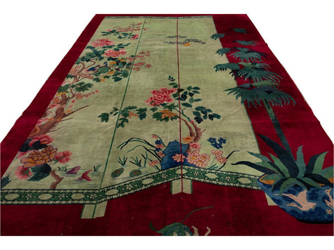 Antique Art Deco Chinese Wool Rug 9 X 14