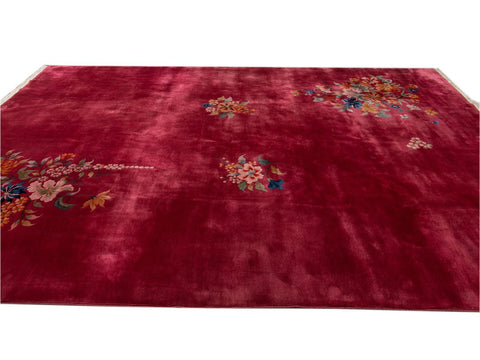 Vintage Art Deco Chinese Room size Wool Rug 10 X 13