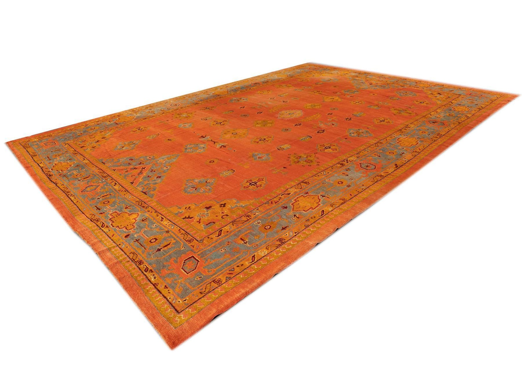19th Century Antique Oushak Rug, 13x19
