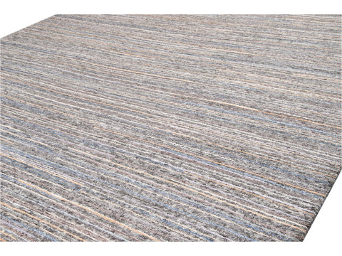 21st Century Modern Striped Indian Wool Rug 12' x 15'