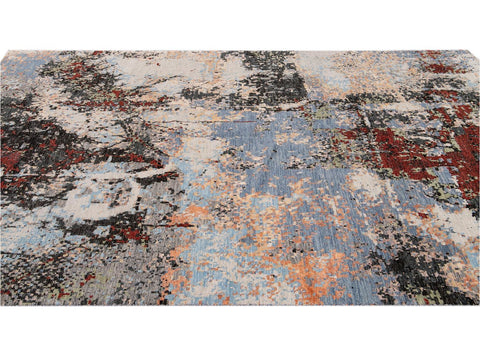 Modern Abstract Wool and Silk Rug 10 X 14