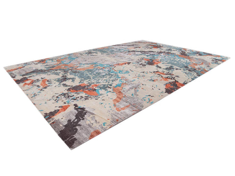 Modern Abstract Wool and Silk Rug 12 X 18